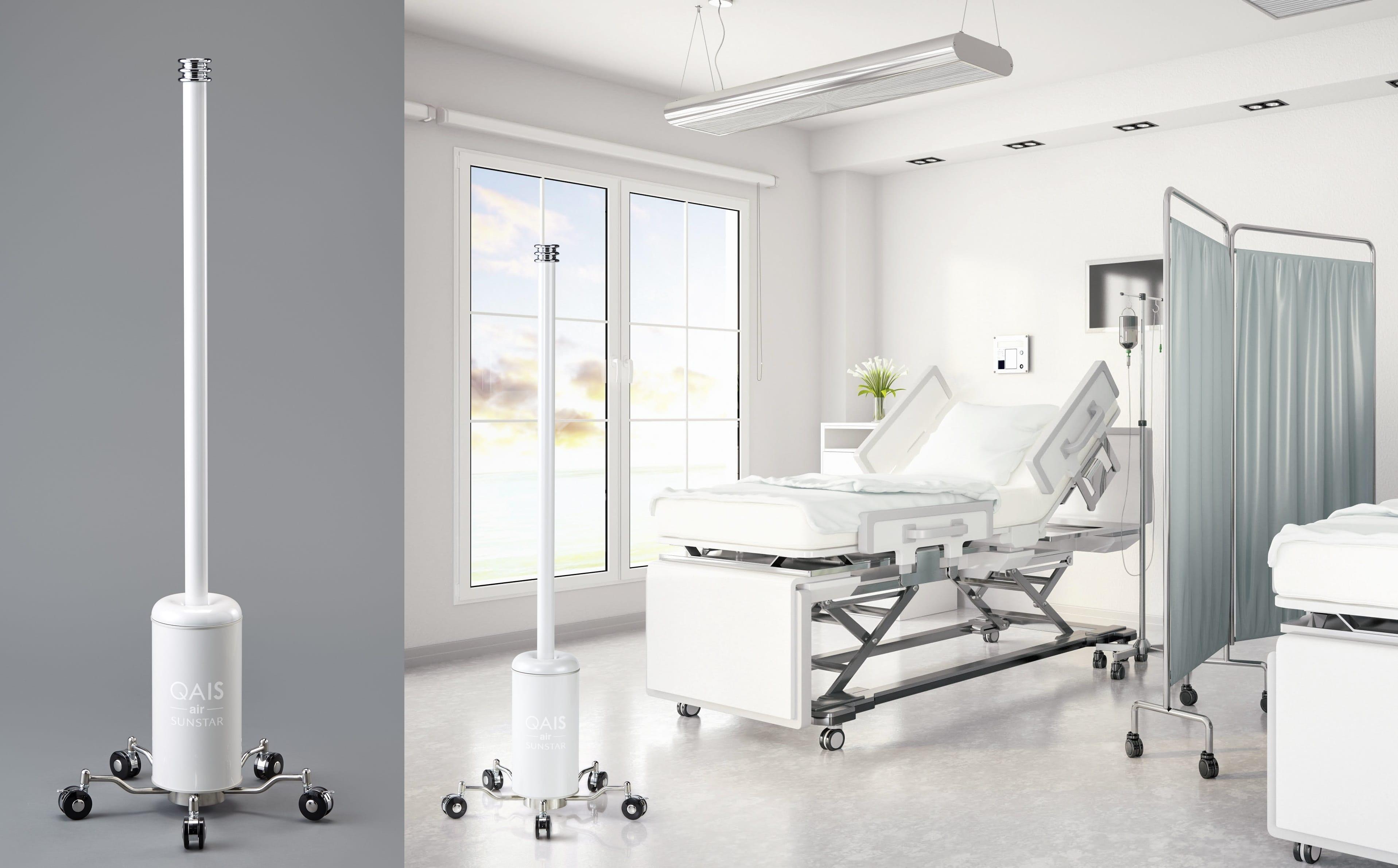 サンスター、病院・介護施設向けUV-C&光触媒搭載の除菌脱臭機 病室間の移動が容易なキャスタースタンド型を新発売
